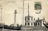 Le phare et le sémaphore de Brighton, avant destruction en 1944, carte postale, 1er quart 20e siècle (coll. part.).
